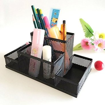 Almand New Arrival Multifuction Black Cube Metal Book Stand Mesh Style Desk Tidy Pencil Metal Pen Holder Office Home Supplies Gift 7