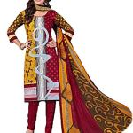 SAMU Women's Cotton Printed Unstitched Dress Material Salwar Kameez Suit Set (ES1011, Golden Red Colour, Free Size)
