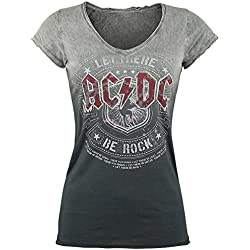 AC/DC Let There Be Rock Camiseta Mujer gris/gris oscuro L