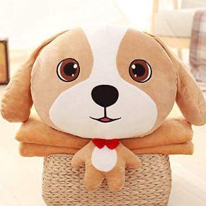 Juguete de peluche Creativo Cartoon Puppy Plush Toy Multiuso Estudiante Siesta Aire acondicionado Manta Almohada Muy suave y cómodo for abrazar Apto para niños y adultos. ( Color : A , Size : 1×1.7m )