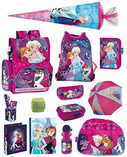 Disney die Eiskönigin Schulranzen-Set 18tlg. Sporttasche Regenschutz Schultüte 85cm Frozen PL pink