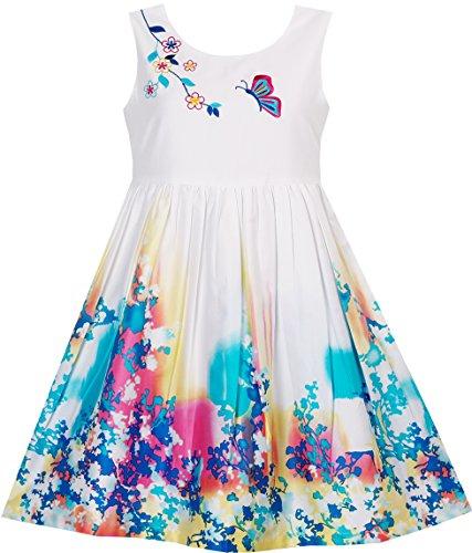 Sunny Fashion Vestido para niña Mariposa Buscando Flor Bordado Chino Estilo 4-12 años