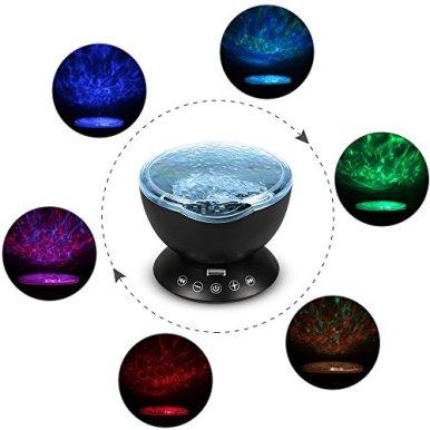 Projektor-Lampe-Furado-LED-Lampe-Projektor-Decken-Projektor-Ozean-Lampe-Projektor-Ozean-Nachtlicht-Projektor-mit-Fernbedienung7-Bunte-Licht-Modi4-Eingespeicherte-NaturklngenTF-SteckplatzUSB-Klinken-ka