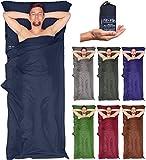 Großer Hüttenschlafsack in 7 Farben inkl. Tasche, 210x90cm - ultra leicht und kompackt --darkblue
