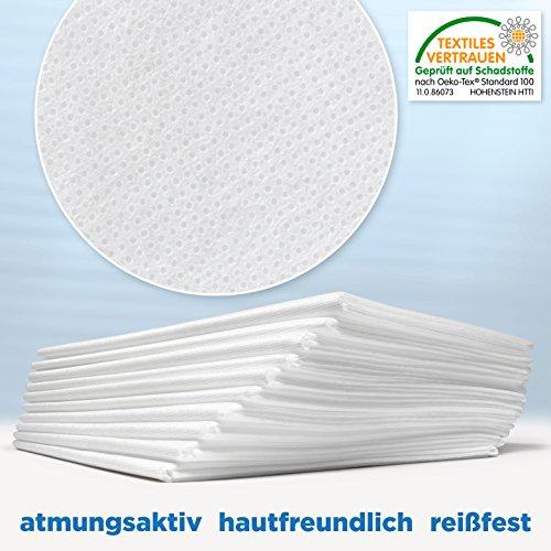 Waschfaserlaken ACTIV (300x waschbar) 10 St.+2 Laken GRATIS (80x210 cm, weiß) Waschvlies / Vlieslaken - OEKO-TEX® geprüft - ORIGINAL Dr. Güstel