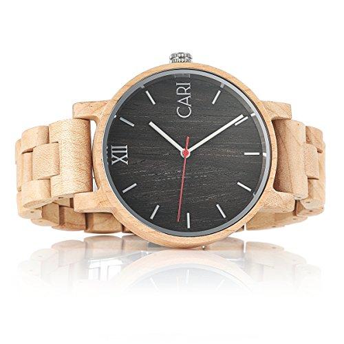 Cari Herren Männer Holzuhr 43mm mit Schweizer Uhrwerk - Holz-Armbanduhr Mailand-051