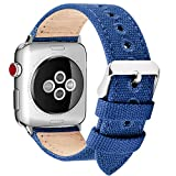 Fullmosa Compatibile Cinturino Apple Watch 44mm 42mm 40mm 38mm,8 Colori Canvas Nato Stile per Cinturino Iwatch Compatibile con Apple Watch Series 4 (44mm 40mm) Series 3,2,1 (42mm 38mm),38mm Blu