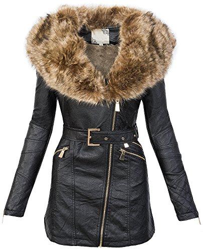 Donna Simil Pelle Cappotto Collo di Pelliccia Giacca Invernale Parka caldo D 200S-L nero 48