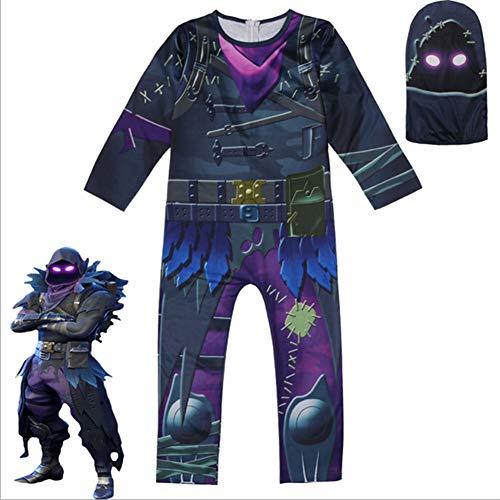 liaoting938Kids Boys Fortnite Costume Cosplay Raven Men Fancy Dress Halloween Party Jumpsuit Outfits Chrildren Party Fancy Dress Performance Costume, 150