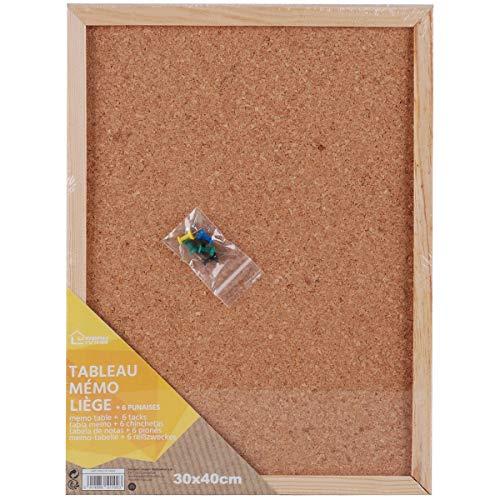 Promobo - Lavagna in Sughero con 6 puntine memo Planning da Appendere, 30 x 40 cm