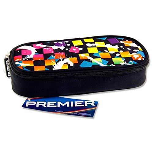 Premier cancelleria C5615679Blue Squares design Campus ovale zip Pencil Case