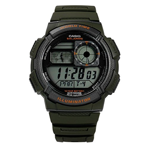 Casio Collection AE-1000W-3AVEF, Orologio con Luce LED da Uomo, Multicolore/ Verde