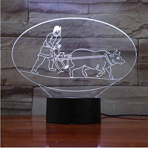Creativo 7 colores cambian 3D luz de la noche hombres y ganado arado forma Led lámpara de escritorio decoración para el hogar arando luminarias luminarias