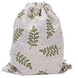 Laat Rangement multi fonctionnels sacchetto in tela borsa a cavo riutilizzabile a l Ecolabel sacchetto a Cinch grande capacità–Fogli di oliva verde, Cotone, Feuilles dolive verte, 19XC24cm