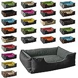 BedDog Hundebett LUPI/Hundesofa aus Cordura & Microfaser-Velours/waschbares Hundebett mit Rand/Hundekissen vier-eckig/für drinnen & draußen/XL/THE-ROCK/schwarz-grau