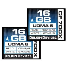 Delkin 16GB CF 700X UDMA 6 16GB CompactFlash memoria flash - Tarjeta de memoria (16 GB, CompactFlash, 105 MB/s, Negro)