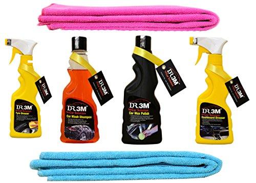 DR3M Automative Car Combos 2 pics Microfiber Cleaning Cloth + AUTOMATIVE CAR WASH Shampoo + AUTOMATIVE CAR Wax Polish + AUTOMATIVE TYRE Dresser + AUTOMATIVE Dashboard Dresser for - Honda B-RV