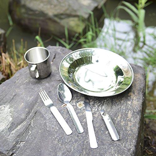 Outdoor freakz – Vajilla de acero inoxidable: Plato + taza + Cubiertos + botellas de/Abrelatas 2