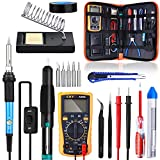 Soldering Iron Kit, SREMTCH 60W 220V Welding Tool Adjustable Temperature, Digital Multimeter, Soldering Iron Tips, Desoldering Pump, Screwdriver, Solder Wire, Tweezers, Stand, Wire Stripper Cutter