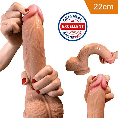Dildo - Realistischer Dildo - 22cm - stolzer Dildo als Sexspielzeug aus Zwei-Layer-Silikon mit Saugnapf von Aurelia ® - Dermatest Zertifikat exzellent