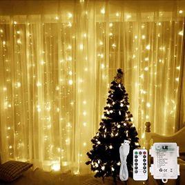 LE Lighting EVER 3m*3m Rideau Lumineux, LED Dimmable, Piles USB pour Mariage Balcon Terrasse Pergola Fêtes Soirée Anniversaire