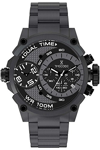 Timecode Herren Chronograph Quarz Uhr mit Edelstahl Armband TC-1003-11