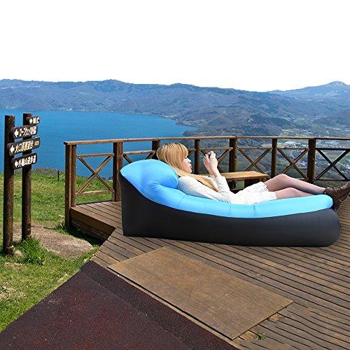 iRegro wasserdichtes aufblasbares Sofa mit integriertem Kissen, tragbarer aufblasbarer Sitzsack, Aufblasbare Couch, aufblasbares Outdoor-Sofa für Camping, Park, Strand, Hinterhof (blauschwarz) - 6