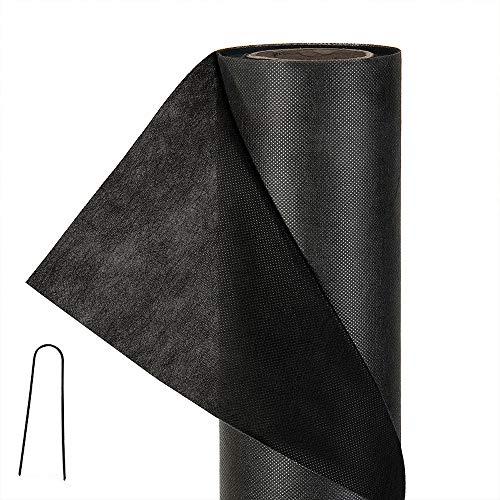 Tejido de control de maleza no tejido de 1 mx 60 m - Membrana protectora de suelo de 50gsm negro estabilizada contra rayos UV (con 100 clavijas de fijación)