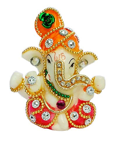 Nice Choice Beautiful Ganesh Statue Idol Showpiece for Car Dashboard, Office Decor and Home Decor (Colour : Mukut Orange, Height 7 cm, Length 6 cm, Width 3 cm) ON Sale Now !
