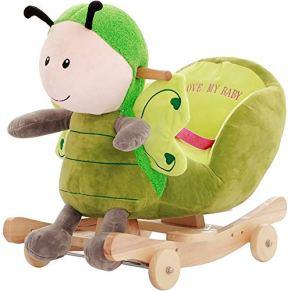LIULAOHAN Caballo de oscilación del bebé, Juguetes Infantiles de Madera Maciza Silla Mecedora para bebés Coche Caballo…