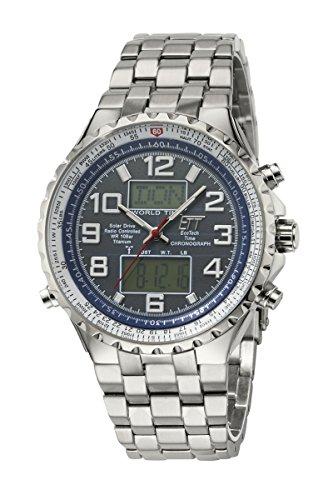 ETT Eco Tech Time, orologio da uomo a energia solare radiocontrollato, con cronografo e cinturino, fuso orario, in acciaio inox