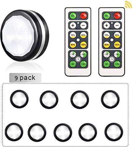 SISVIV 9 Pz LED Luci Armadio a Batteria Luce Notturna Adesiva Lampada Sottopensile Cucina Vetrina...