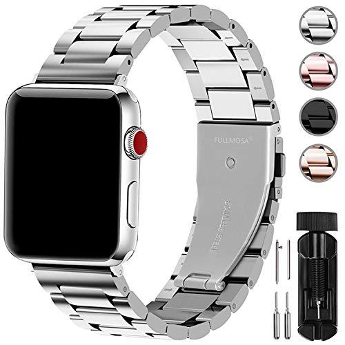 Fullmosa Compatibile Cinturino per Apple Watch 42mm e 38mm,3 Colori Cinturino per iWatch in Acciaio Inossidabile,Cinturino per Apple Watch Series1,2,3,4,5, 38mm Argento