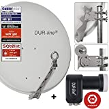 DUR-line 4 Teilnehmer Set - Qualitäts-Alu-Satelliten-Komplettanlage - Select 75/80cm Spiegel/Schüssel Hellgrau Quad LNB - für 4 Receiver/TV [Neuste Technik, DVB-S2, 4K, 3D]