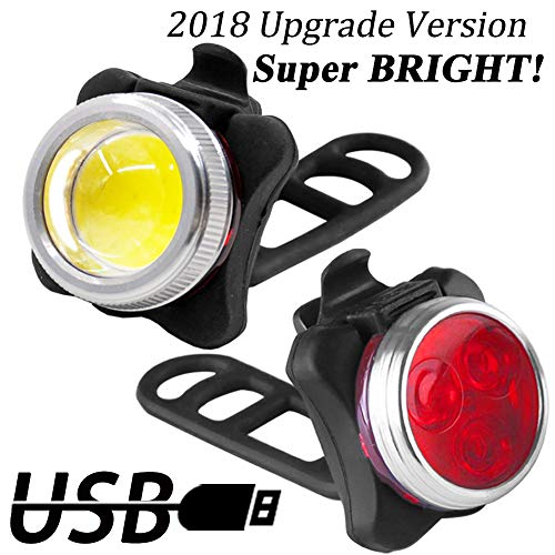 Luci per Bicicletta, Luci Bici 650mAh USB Ricaricabile Impermeabile LED Faro e Fanale Posteriore,4...