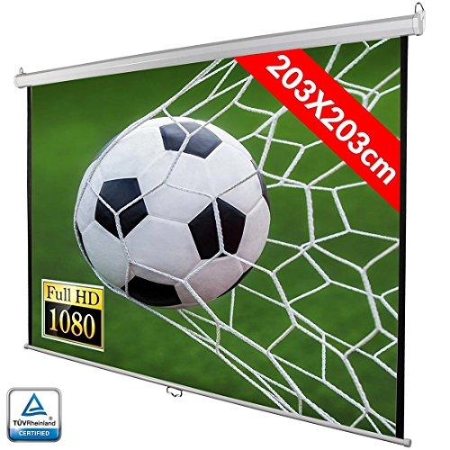 Bakaji Schermo per Videoproiettore Proiezione 113' Home Cinema Telo Proiettore 203 x 203 cm FULL HD...