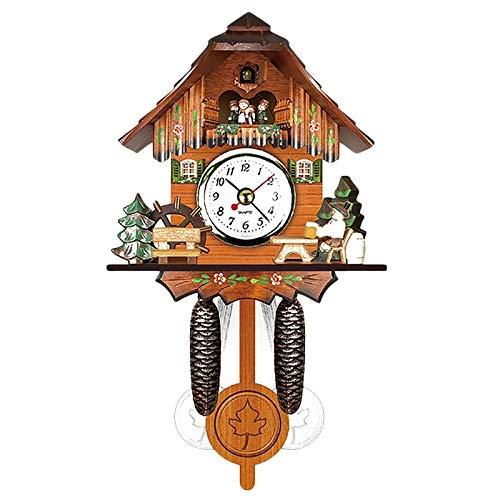 Joyfitness Antico Orologio da Parete in Legno a cucù Uccello Tempo Campana Sveglia Altalena Home Art Decor 12x23x5cm
