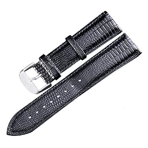18mm cinturini neri lucertola cinturino dell'orologio di grano sostituzione vera pelle cintura braccialetto da polso