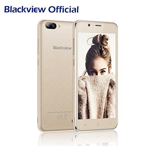 Handy Ohne Vertrag, Blackview A7 Dual Samsung Rückkameras (5 MP + 0.3 MP), Dual Sim Handy mit 5.0 Zoll HD Touch Display, Günstige Handy Android 7.0 mit 2800mAh Batterie-Gold