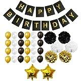Set Decoraciones Fiesta 33 Piezas Doradas, Blancas y Negras por Belle Vous - Pompones, Globos de Látex y de Papel de Aluminio y Pancartas para Celebraciones de Cumpleaños y Fiestas - Kit Lote Decoraciones para Chicas, Chicos y Adultos