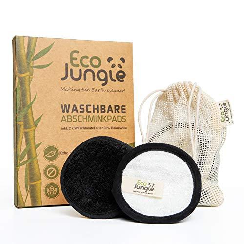 ECO JUNGLE Waschbare Abschminkpads - Abschminktücher (12 Stück)   3-Layer Wattepads aus Bambus und Baumwolle   Zero Waste - Nachhaltig & Wiederverwendbar   TÜV Rheinland getestet   + 2 Waschbeutel