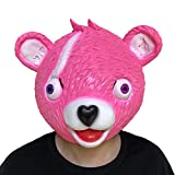 Zolimx Abrazo Equipo Líder Fortnite Oso Máscara Juego de Fusión Cara de Látex Adulto Traje Cosplay Juguete (Rosa)