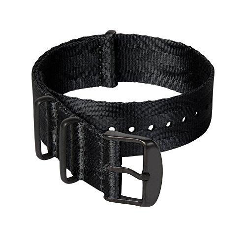 Archer Watch Straps | Cinturini NATO in nylon di altissima qualità stile cintura di sicurezza | Cinturini di ricambio resistenti tipo militare | Nero/Metallo nero, 22mm