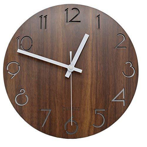 jomparis 30 cm Orologio da Parete Rotondo in Legno Decorazione Shabby Chic-Orologio Silenzioso a Quarzo per Salotto, Cucina, Camera da Letto, Bagno
