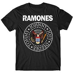 Camiseta Hombre Ramones - Classic Colors Logo Camiseta Rock 100% algodòn LaMAGLIERIA, S, Negro