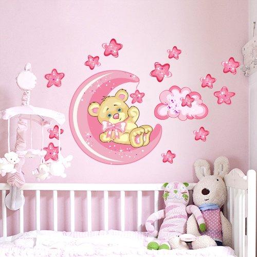 wall art R00317 da Parete per Bambini, Piccolo Orso buona-Notte-Luna, 60 x 40 x 0,1 cm,...