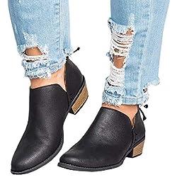 Bottine Femmes Plates Boots Femme Cheville Basse Cuir Bottes Talon Chelsea Chic Compensé Grande Taille Chaussures 3cm Beige Rose Gris Noir 35-43 BK39