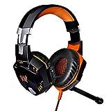 KOTION EACH G2000 Over-ear 3.5mm Cuffie da Gioco Gamer Auricolare Stereo con Microfono Stereo Bass LED Luce Regolatore di Volume per PC (Nero+Arancia)