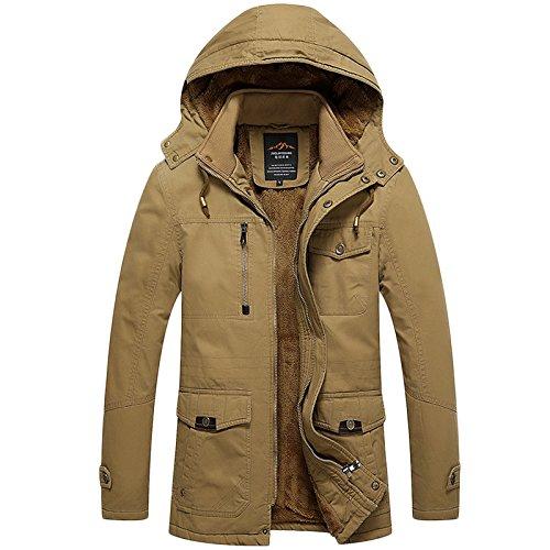 LEOCLOTHO Uomo Militare Giacca Tattica Cappotti Trench Zipper Cappotto Caldo Giacche a Vento con Cappuccio Cachi 2XL