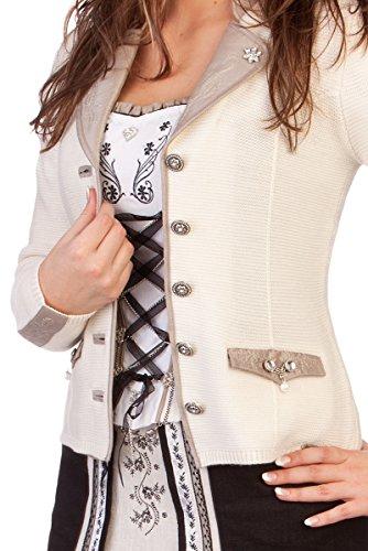 Damen Trachten Strickjanker - PENZBERG - braun, rot, schwarz, wollweiß , Größe M -